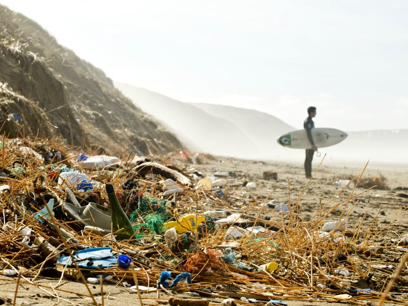 A lone surfer stands on a plastic strewn beach. Photo: SAS.