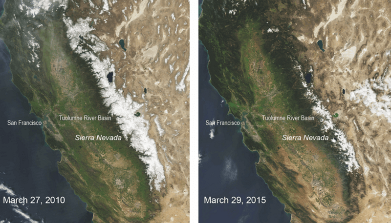 Comparison of Sierra Nevada snowpack in 2015 v 2010. Photo: NASA / MODIS.