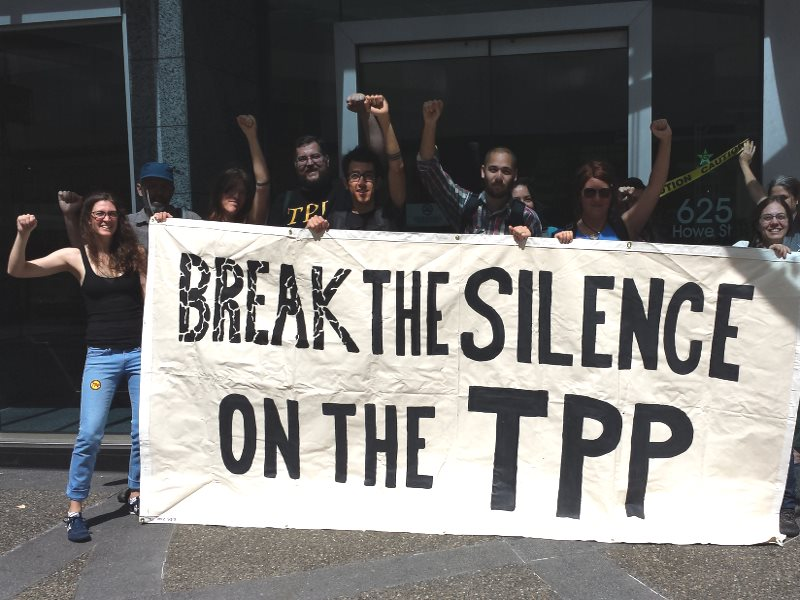 These anti-TPP protesters in Vancouver, Canada, are about to get their way. Now the text will have to be made public. Photo: Backbone Campaign via Flickr (CC BY-NC-SA).