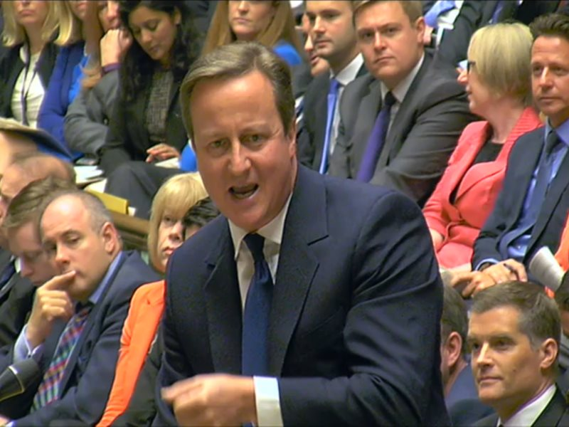 David Cameron answering his first question from the new Labour Leader, Jeremy Corbyn on 16th September 2015. Photo: BBC / Parliament video still.