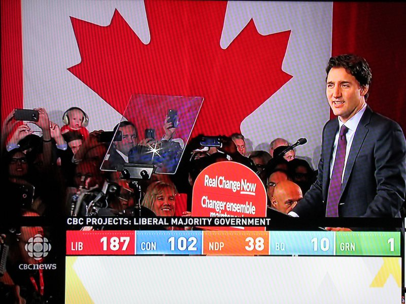 Prime-Minister-elect Justin Trudeau on CBC News. Photo: Can Pac Swire via Flickr (CC BY-NC).