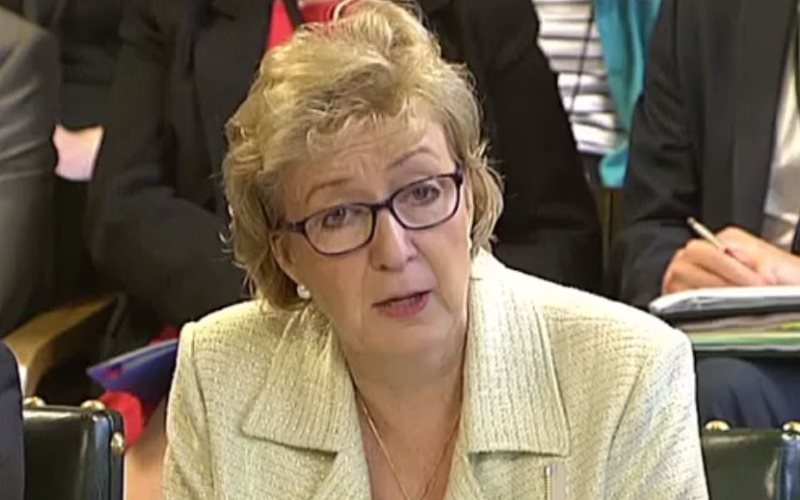 Energy Minister Andrea Leadsom taking questions from MPs last week on the cuts to renewable energy generation. Photo: still from Parliament TV.