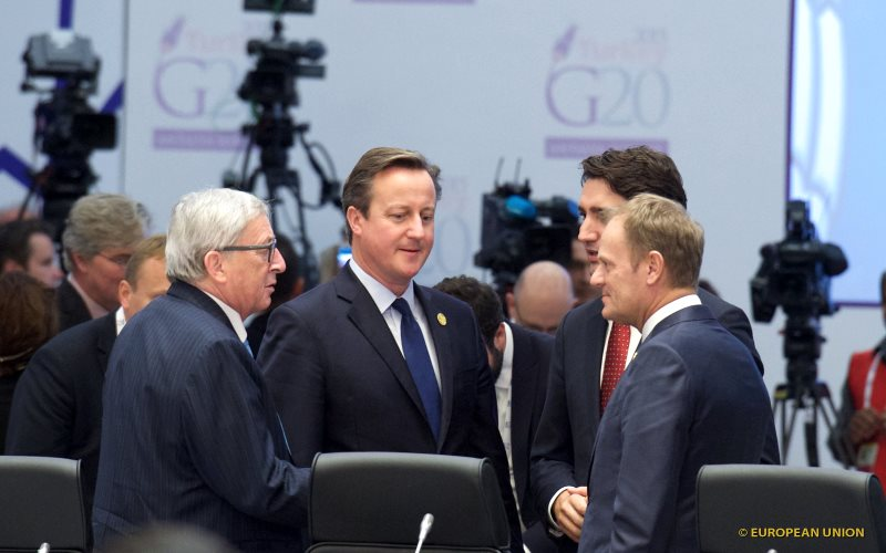 With this lot, what do you expect? At the G20 Turkey Leaders Summit (L-R) Jean-Claude Juncker, David Cameron, Donald Tusk. Photo: European Council President via Flickr (CC BY-NC-SA).