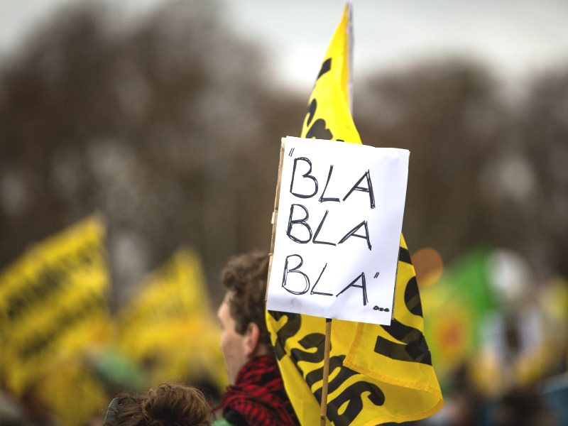 This protestor on the Global Climate March, 29th November 2015 in Berlin, could just have a point. Photo: Jörg Farys / BUND via Flickr (CC BY-NC-SA).