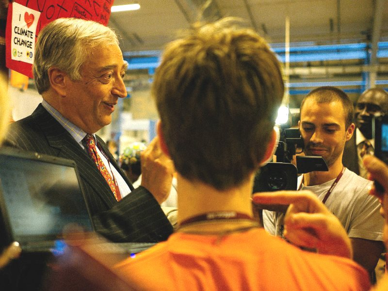 Lord Monckton attracting attention at the Copenhagen climate conference, 2009. Photo: Mat McDermott via Flickr (CC BY-NC-ND).