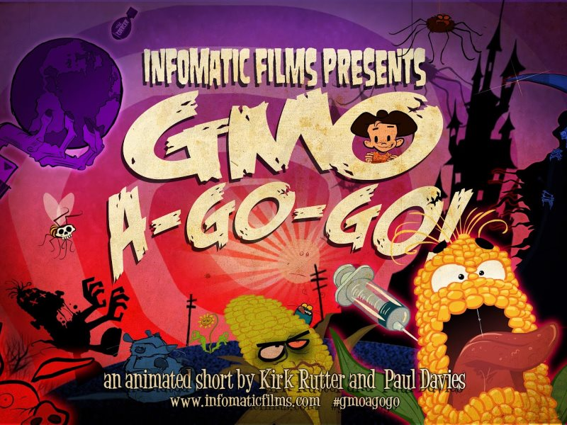 This poster for the 'GMO-a-gogo' animation is clearly emotive - but mainly it's the GM opponents who have the science on their side, and GM advocates who resort to emotive claims and invective. Image: infomaticfilms.com.