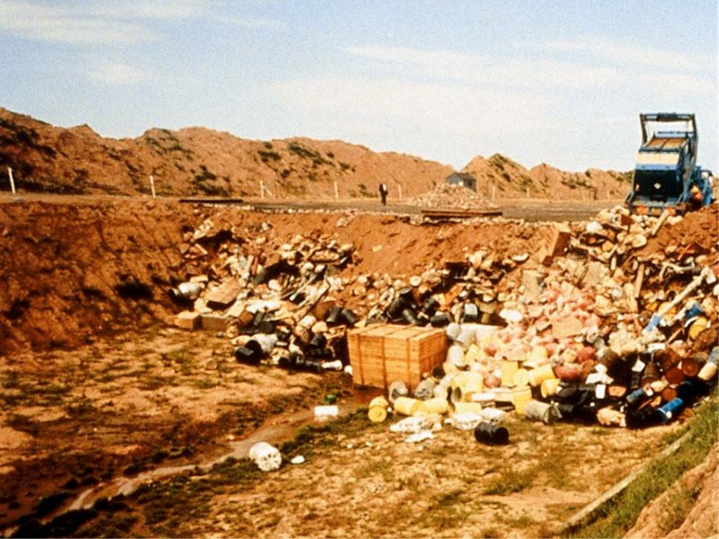Pre-1988 dumping of low and intermediate level nuclear waste at the Drigg site in Cumbria. Photo: via EA (2005).