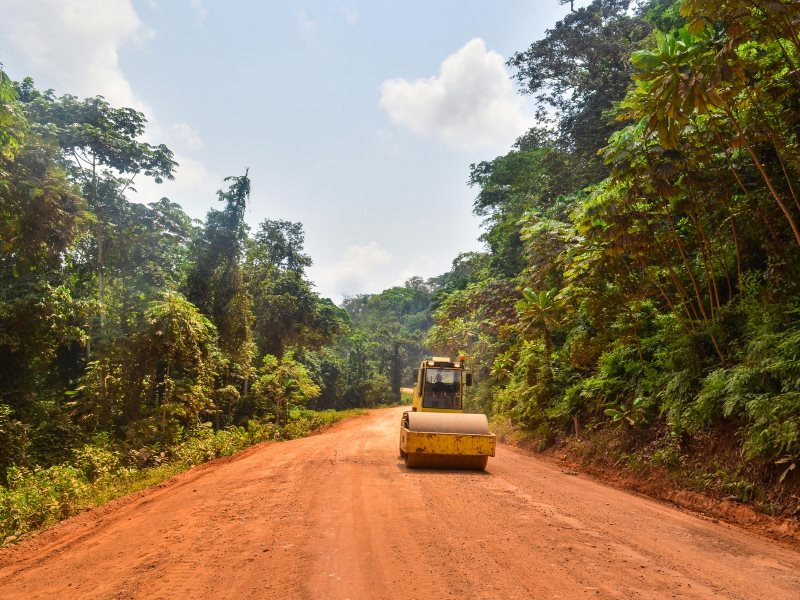 Road pushing deep into the Gabon rainforest near Junkville Ayem Lope, 20th December 2013. Photo: jbdodane via Flickr (CC BY-NC).
