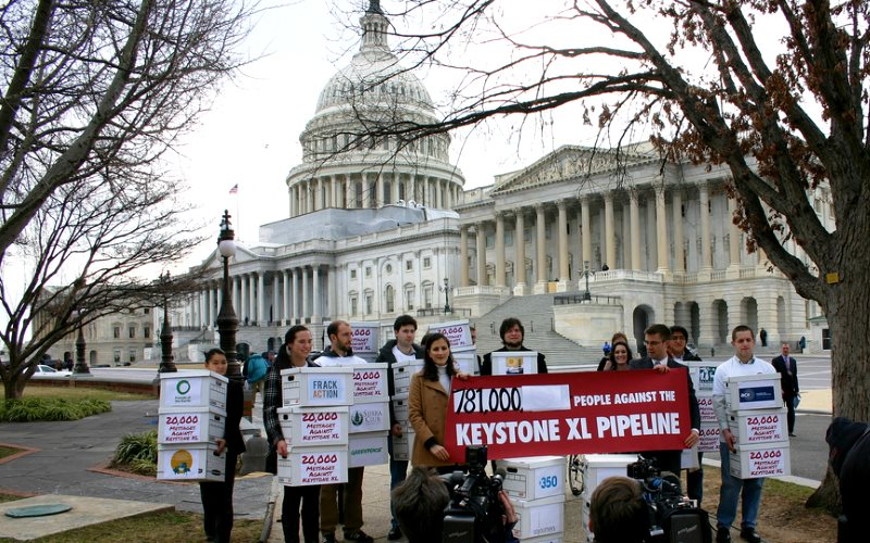 The US Government finally decided to refuse the KXL pipeline last November after years of protests like this one in 2012. But now US taxpayers may be on the hook for $15 billion under the NAFTA 'free trade' agreement. Photo: 350.org via Flickr (CC BY-NC-S