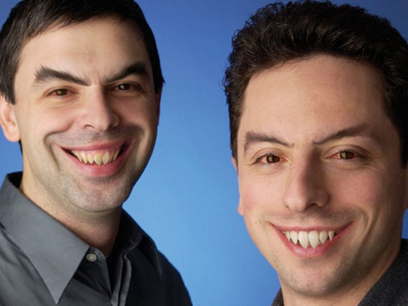 'Grandmother Google, what big teeth you have got!' 'All the better to eat you up with.' Larry Page and Sergey Brin urgently require dental treatment. Image: Duncan Hull / Gizmodo via Flickr (CC BY).