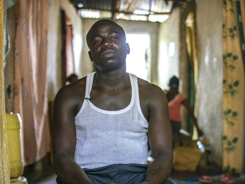 Jackson Wanyama, a former worker at the Metal Refinery smelter in Mombasa, Kenya. His wife Linette passed away last October. She used to wash his clothes and had high levels of lead poisoning. He too is suffering from his exposure to lead contamination. P