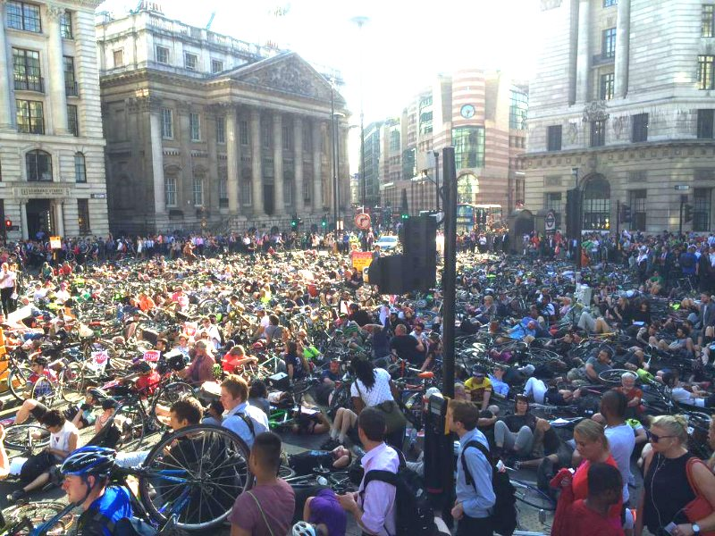 Cyclists stage Die-In at Mansion House in June 2015, following death at Bank junction. Photo: Stop Killing Cyclists.