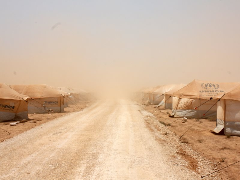 A dust storm hits Jordan's  Zaatari refugee camp on 29th July 2012 shortly after it was established ear the northern city of Mafraq. Photo: European Commission DG ECHO via Flickr (CC BY-SA).