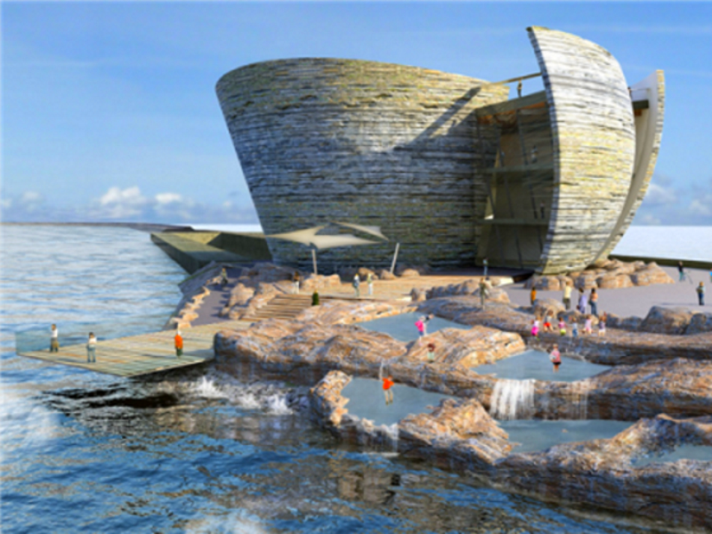 The futuristic visitor centre planned for the Swansea Bay Tidal Lagoon.