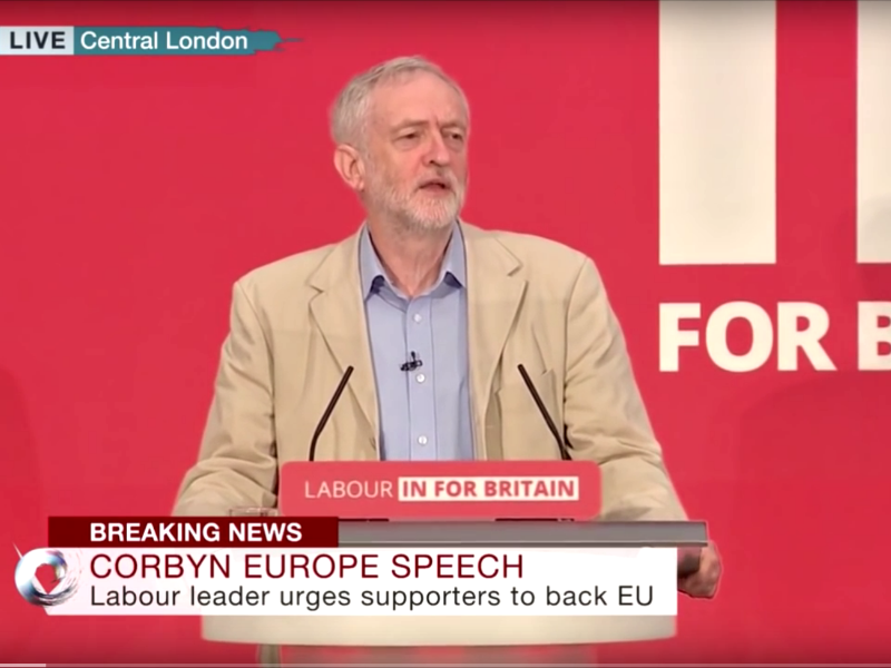 Jeremy Corbyn making his big speech on the socialist case to remain in the EU, 14th April 2016: a good start but he must do far more and engage and inspire voters with his vision of a progressive Europe. Photo: via Youtube.