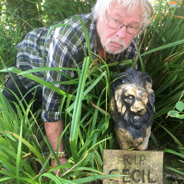 Bill Oddie in his front garden with 'Cecil' - named after Cecil the Lion, shot by a licenced hunter from the US in Zimbabwe on 1st July 2015.