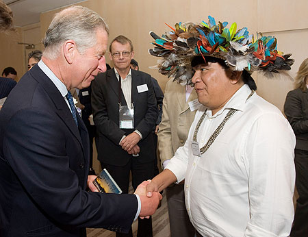 Almir Narayamoga Surui, Chief of the Paiter Surui meeting Prince Charles in 2010 after being awarded a major prize for his humanitarian and ecological work