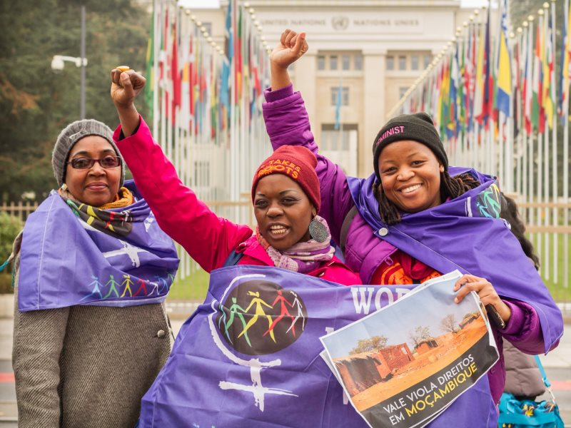 Delegates from Mozambique in Geneva last week celebrating their achievements in progressing the new human rights treaty. Photo: Victor Barro / FOEI.