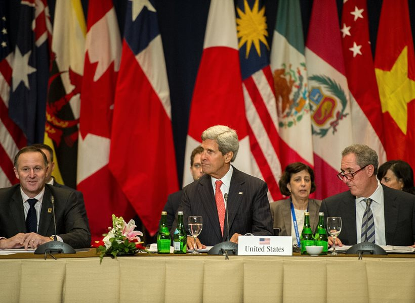 Now it's all over. US Secretary of State John Kerry participates in a meeting with nations' leaders discussing the Trans-Pacific Partnership (TPP); Bali, Indonesia, 8th October 2013. Photo: State Department / William Ng (Public Domain).