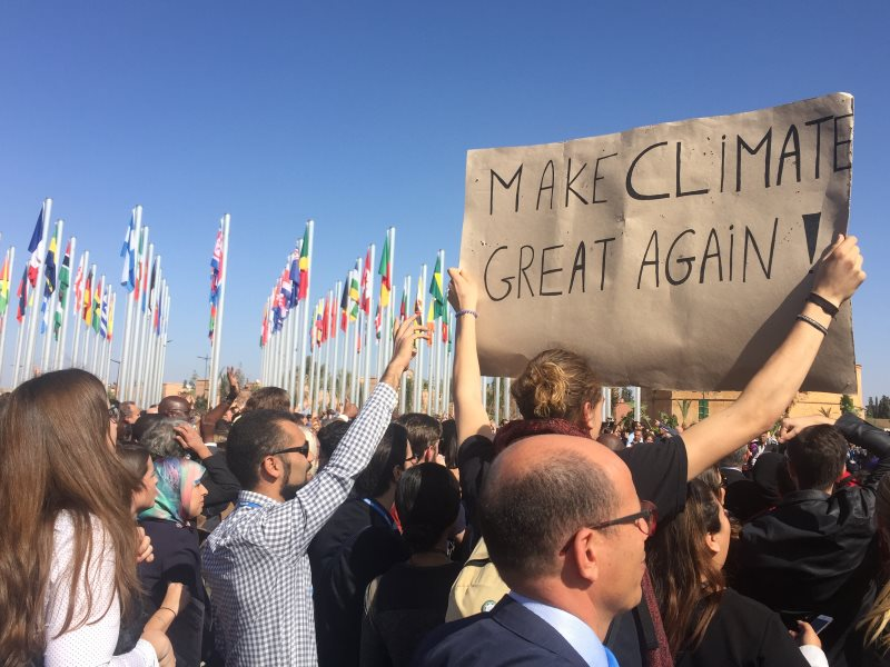 'Make Climate Great Again' - COP22 in Marrakech presented a strong, united front against President-elect Trump's climate change denialism. Photo: Alex Pfeiffer.