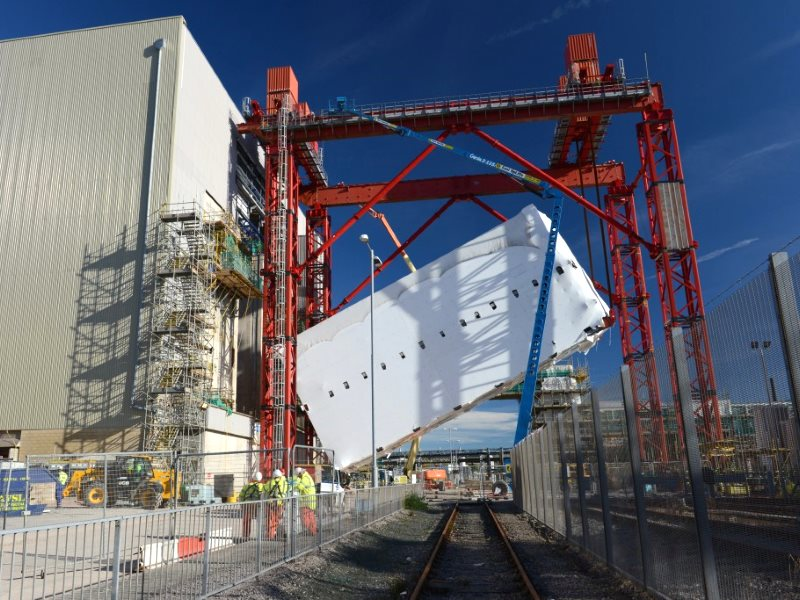 The £740 million box: the 27 metre high Evaporator D module being lifted vertically into place from the horizontal, transportation position. Photo: Sallafield Sites.