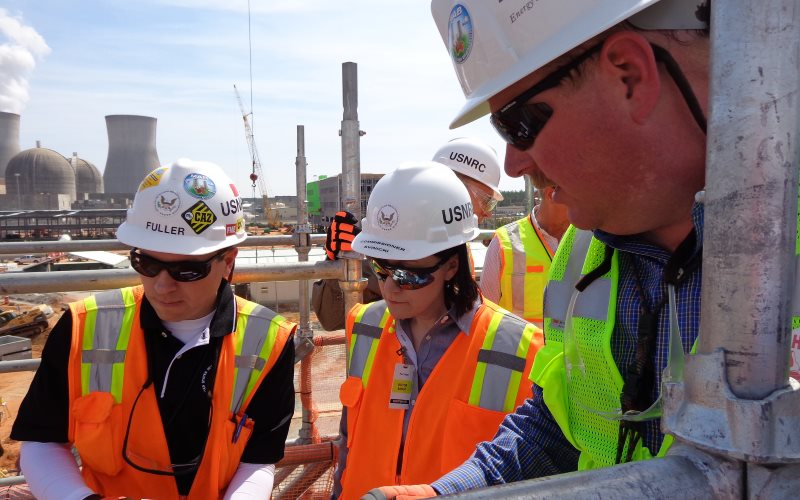 Where Toshiba's $10bn nuclear debt came from: the Vogtle AP1000 construction site in Georgia, under inspection by NRC Commissioner Svinicki. Photo: Nuclear Regulatory Commission via Flickr (CC BY).