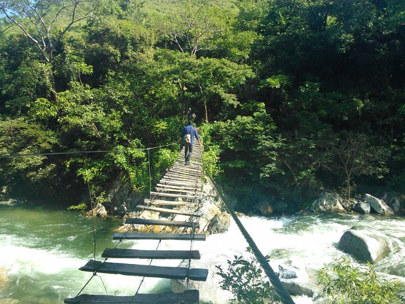 Footbridge over the Coapa River in Chiapas, Mexico, which supports local silvopasture (forestry and livestock grazing). Photo: Lameirasb via Wikimedia Commons (CC BY-SA).