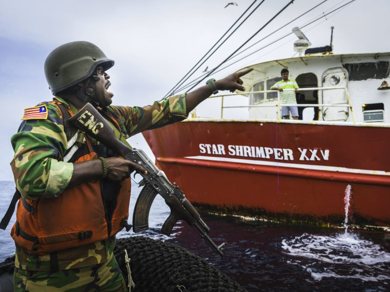 Liberian Coast Guard prepares to board the Star Shrimper XXV. Photo: Alejandra Gimeno / Sea Shepherd Global.