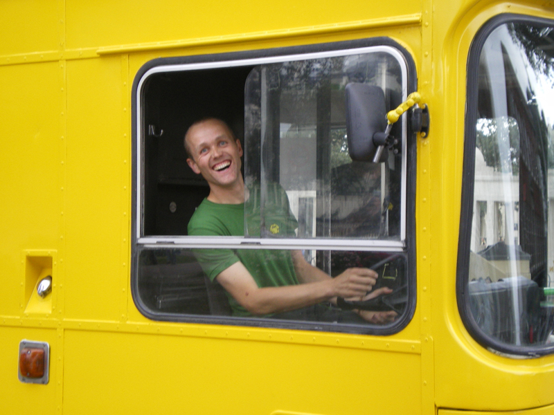 Big lemon bus driver