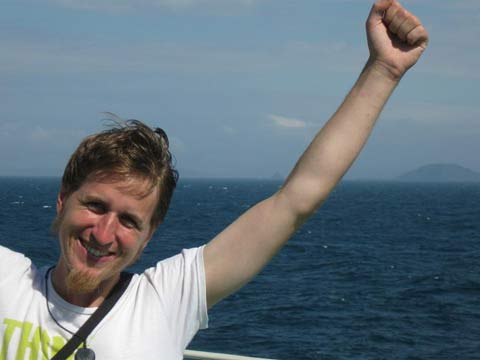 Ewan Kinsgton on the ferry
