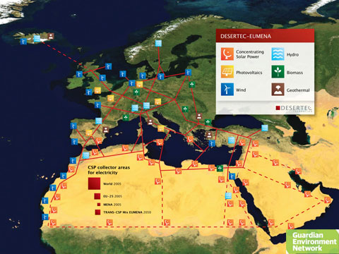 Map of plan to bring solar power from Africa to Europe