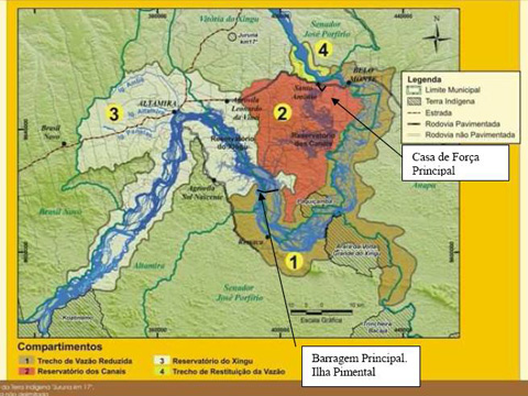 Map of area directly impacted by Belo Monte Dam