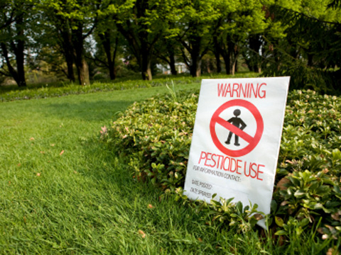 A pesticides sign