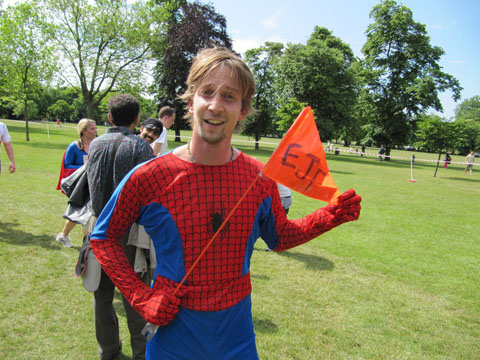 A man dressed as a super hero after taking part in the run for EJF