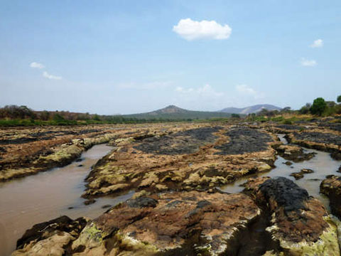 Dried up Omo River in Ethiopia