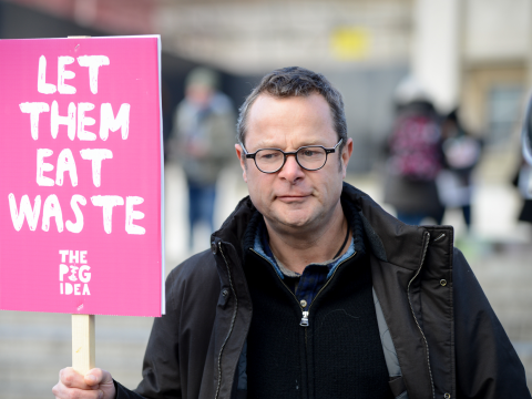 "Hugh Fearnley-Whittingstall at the Pig Idea Feast. ""Pigs can be a highly effective recycling system, with the potential to turn a massive problem of food waste into a delicious solution. It's mad not to."" Photo: Karolina Webb."