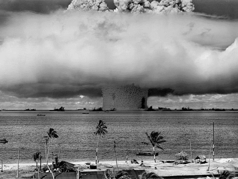 The Baker Shot of Operation Crossroads, Bikini Atoll 25 July 1946. Wikimedia Commons.