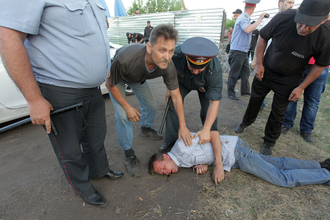 Participants of a protest against nickel production were brutally beaten by security guards of the LLC Mednogorsky Copper and Sulphur Plant in 2013.