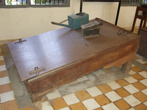 The Khmer Rouge, and the US Government. A Khmer Rouge waterboard used for torturing mainly female prisoners. Photo: waterboardingdotorg via Flickr.com.