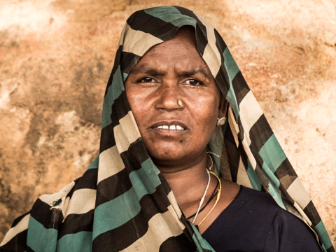 Manbasia - a displaced Forest dweller, Jharia. Photo: Sarah Stirk.
