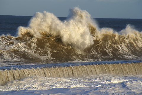 Giant waves on the seafront at Seaham, County Durham. Photo: Ian Britton via Flickr.com.