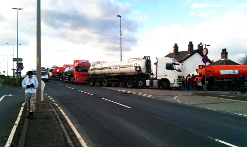 Trucks backing up at Barton Moss following the 'footpath ruling'. Photo: Barton Moss Protest Camp.