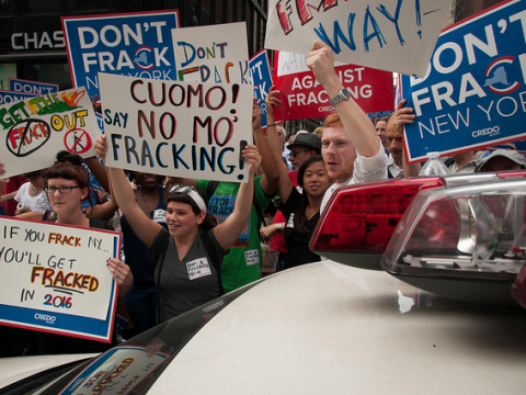 Don't Frack New York! CREDO Action & New Yorkers Against Fracking Protest Gov. Cuomo's plan to frack New York. Photo: CREDO via Flickr.com.