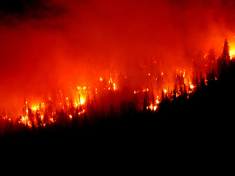 A forest fire rages in California, in the grips of a record-breaking drought. Photo:  jcookfisher via Flickr.com.