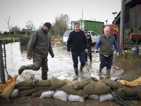 Cameron to the rescue: the politicisation of the UK's 2014 floods has not been conducive to enlightening discourse. Photo: The Prime Minister's Office via Flickr.com.