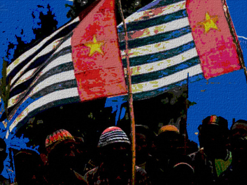 Flying the 'Morning Star' flag of West Papua. Photo: A K Rockefeller via Flickr.com.