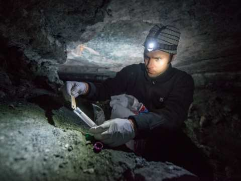 Suren Gazaryan, winner of a 2014 Goldman Prize, surveying for bats in a cave deep underground.