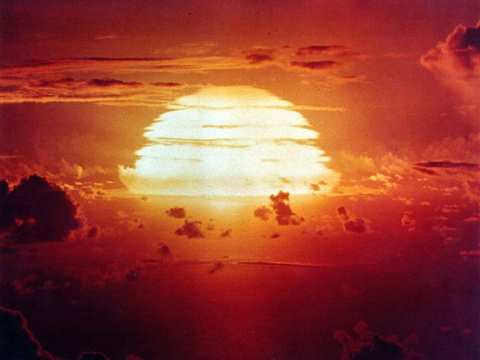 A US government photograph of Operation Redwing's Apache nuclear explosion in the Pacific Ocean's Marshall Islands on July 9, 1956.