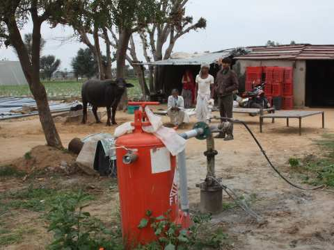 Solar-powered water pumps take the pain, and expense, out of water collection. Photo: Chhavi Sharma / Ashden.