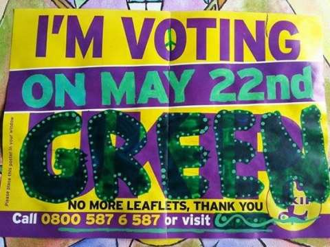 Voting Green not UKIP! Photo: from Viridis Lumen.
